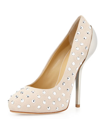 Studded Leather Pump with Metal Heel, Pink