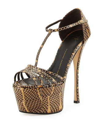 Leather High-Heel Platform Sandal, Snake Print