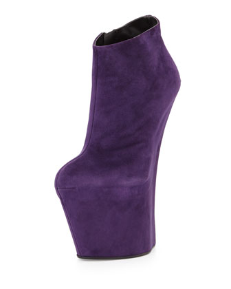 Suede Sculpted Wedge Bootie, Violet