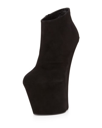 Suede Sculpted Wedge Bootie, Black