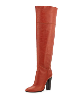 High-Heel Leather Knee Boot, Orange