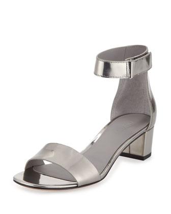 Rita Specchio Block-Heel Sandal, Pewter