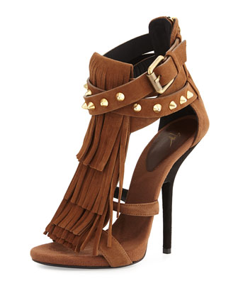 Studded Fringe Suede Sandal, Light Brown