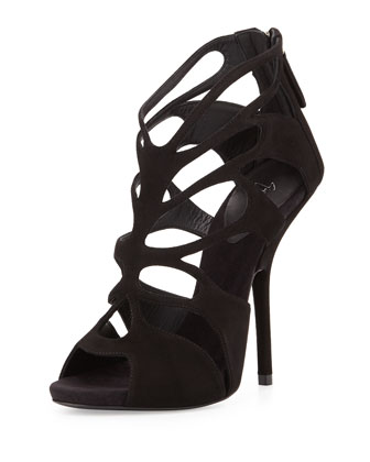Suede Caged High-Heel Sandal, Black