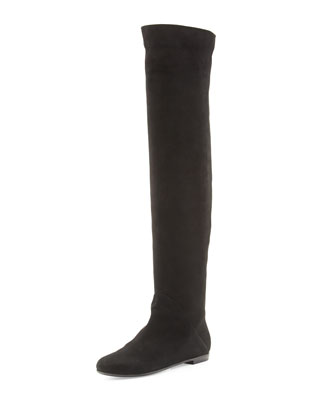 Tall Round-Toe Suede Boot, Black
