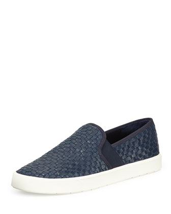 Preston Woven Nappa Sneaker, Heather Indigo