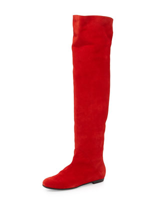 Tall Round-Toe Suede Boot, Red