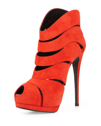 Strappy Peep-Toe High-Heel Bootie, Red