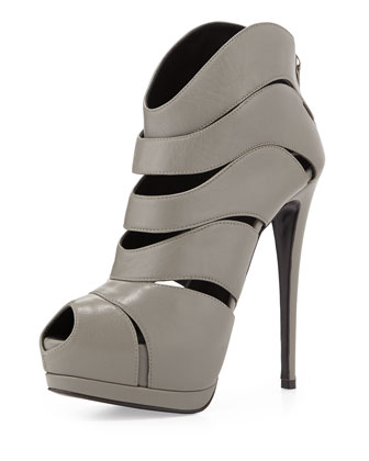 Strappy Peep-Toe High-Heel Bootie, Gray