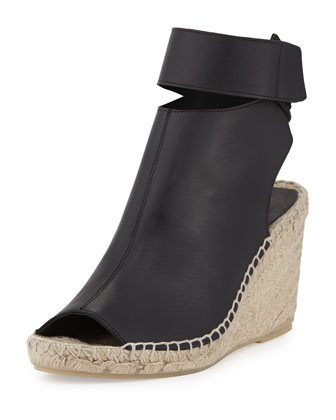 Seymour Covered Leather Espadrille, Black