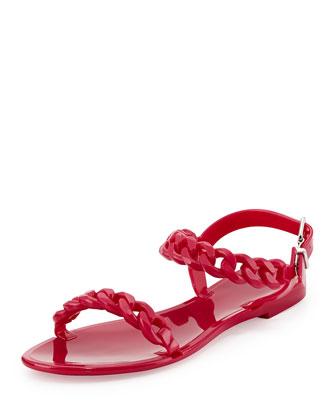Nea Chain Jelly Flat Sandal, Fuchsia