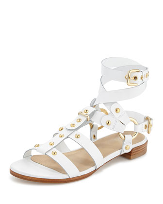 On-the-Run Leather Gladiator Sandal, White