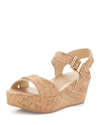 Playdate Cork Wedge Sandal, Natural
