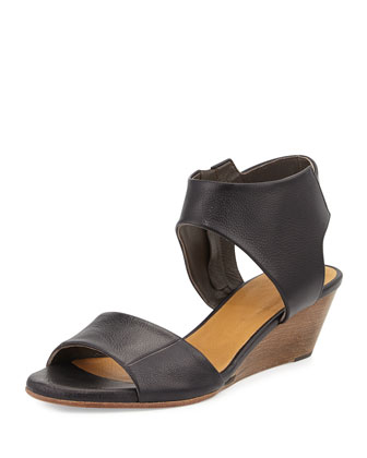 Kiss Leather Demi-Wedge Sandal, Black