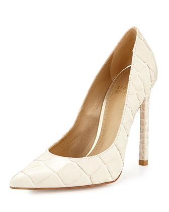 Queen Croc-Embossed Pump, Ivory