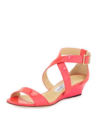 Chiara Neon Patent Demi-Wedge Sandal, Pink