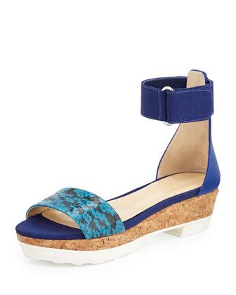 Neat Flat Platform Sandal, Turquoise