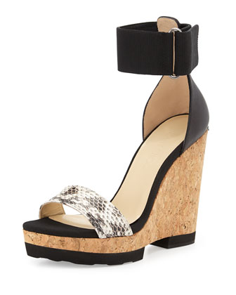 Neston Mixed-Media Wedge Sandal, Black