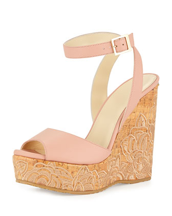 Patara Leather Cork Wedge, Rose