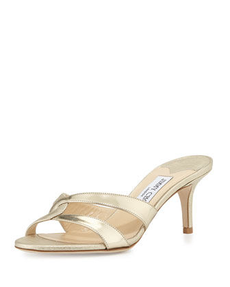 Tation Textured Metallic Leather Mule, Light Gold
