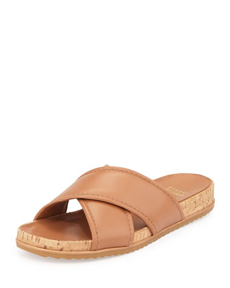Spa Leather Crisscross Sandal, Camel