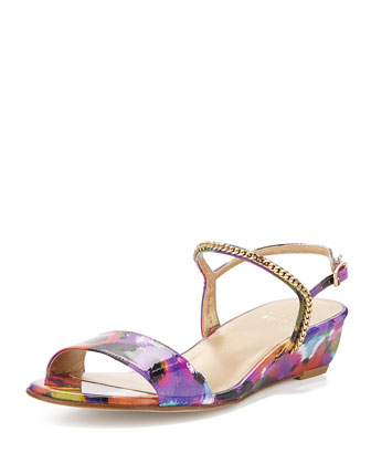 Sweeper Chain Demi-Wedge Sandal, Bright
