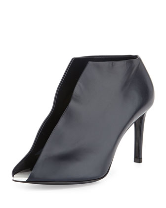 Split-Front Leather Bootie, Navy
