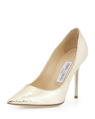 Abel Croc-Embossed Pump, Gold
