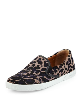 Demi Spotted Calf-Hair Sneaker, Leopard