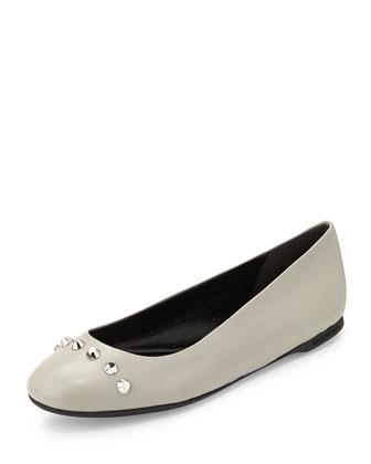 Studded Ballerina Flat, Gray