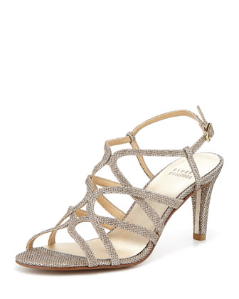 TurningUp Strappy Glitter Sandal, Platinum
