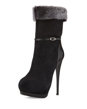 Suede Fur-Lined High-Heel Boot, Black