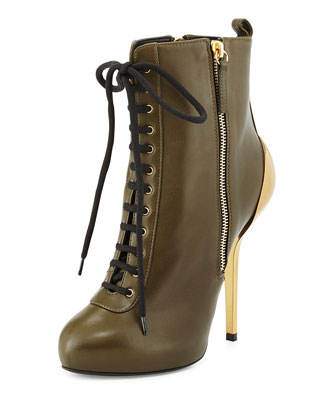 High-Heel Lace-Up Bootie, Green