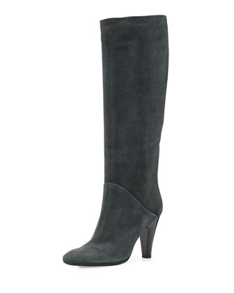 Suede High-Heel Knee-Boot, Dark Gray
