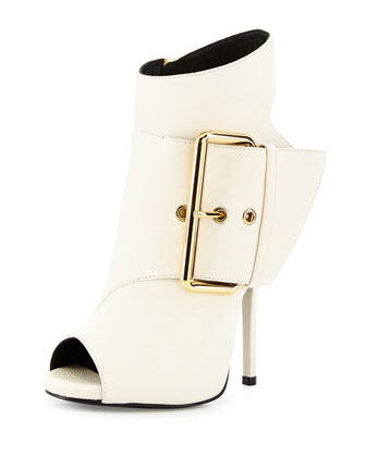 Leather Peep-Toe High-Heel Bootie, Off White