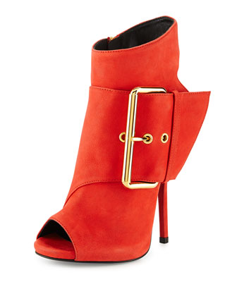 Leather Peep-Toe High-Heel Bootie, Red