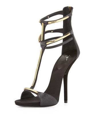 Metal Bar T-Strap Sandal, Black