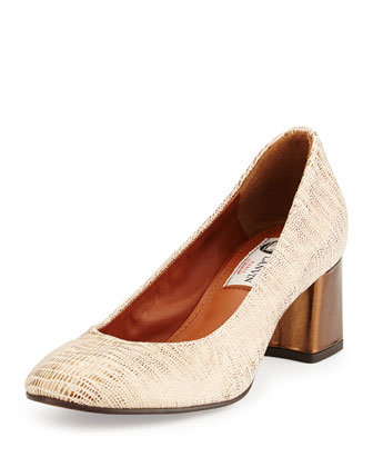 Metallic Leather Ballerina Pump, Gold