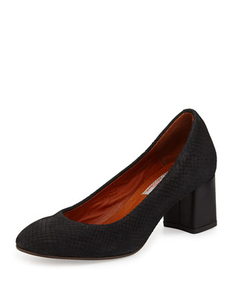 Snake-Embossed Nubuck Pump, Black