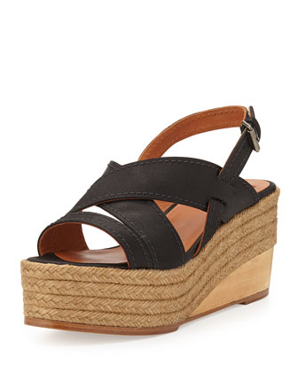Satin Espadrille Wedge Sandal, Black