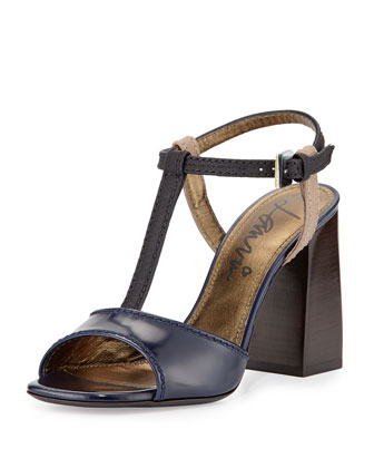 Colorblock Leather T-Strap Sandal, Blue