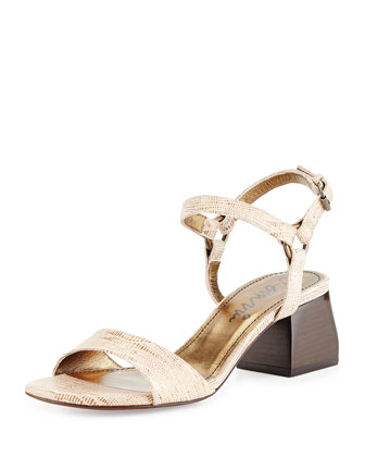 Lizard-Print Leather Sandal, Gold