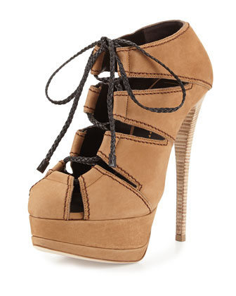 Lace-Up Leather Bootie, Dark Beige