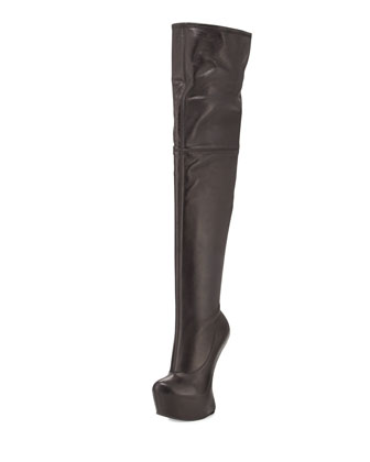 Thigh-High Wedge Platform Boot, Black