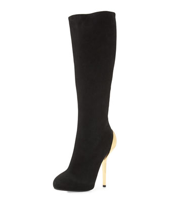 Suede Metallic-Heel Knee Boot, Black