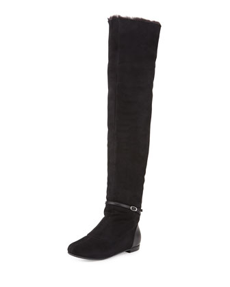 Suede Faux-Fur Lined Flat Boot, Black