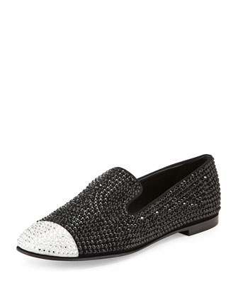 Crystal Cap-Toe Loafer, Black/White