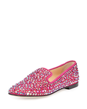 Crystal Slip-On Loafer, Hot Pink
