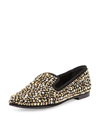 Crystal Slip-On Loafer, Black