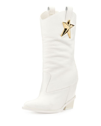Golden-Star Leather Boot, White
